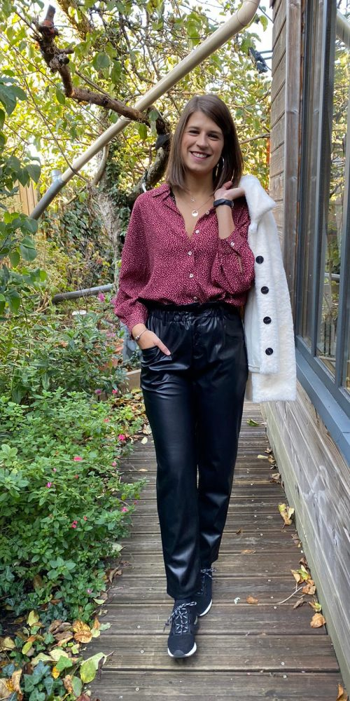 chemise nice things prune à pois et pant orfeo simili cuir